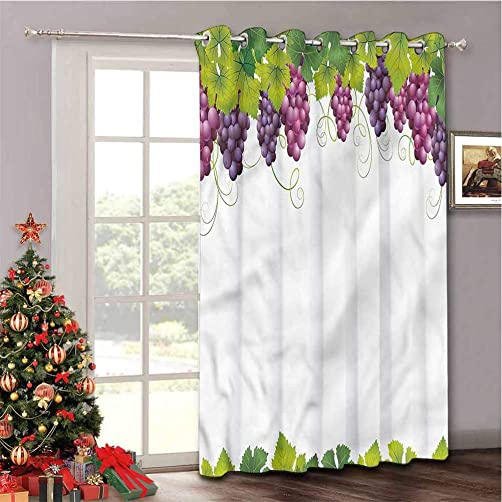 Aishare Store Heavy-Duty Full Light Shading Sliding Door Drape Room Divider Curtain, Vineyard Leaves and Ripe Grapes, Privacy Vertical Blind for Living Room, W100 x L108 Inch, 1 Panel