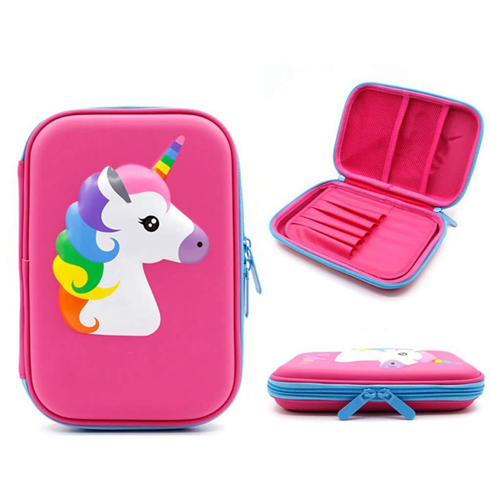 azul Unicornio l/ápiz caso cute l/ápices titular de gran tama/ño caja de crayones con compartimentos para ni/ños fuente de la escuela bien organizado