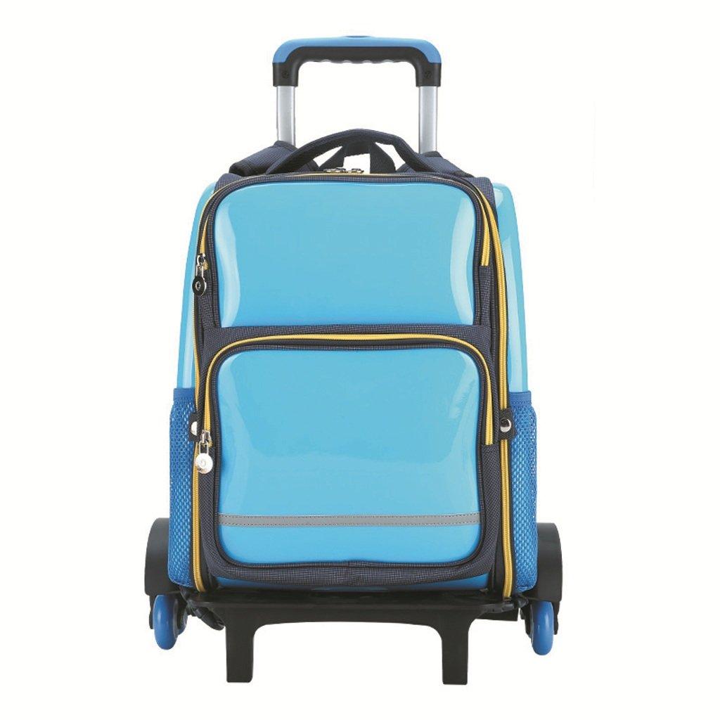 Jia He Kinder Kinder Trolley Bag - Grundschule Tasche Trolley Bag 1-3-5 Level DREI Räder abnehmbare Mädchen 6-12 Jahre Student Tasche @ (Farbe : Blau)
