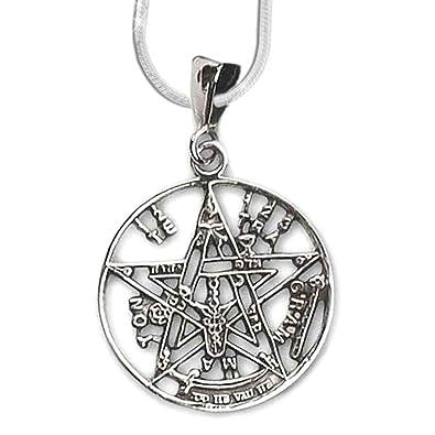 2605b43da5e0 24-Trendshop Colgante de estrella de pentagrama Tetragrammaton 925 plata  joyas - protección medallonque - con 1 mm cadena serpiente 46 cm collar   Amazon.es  ...