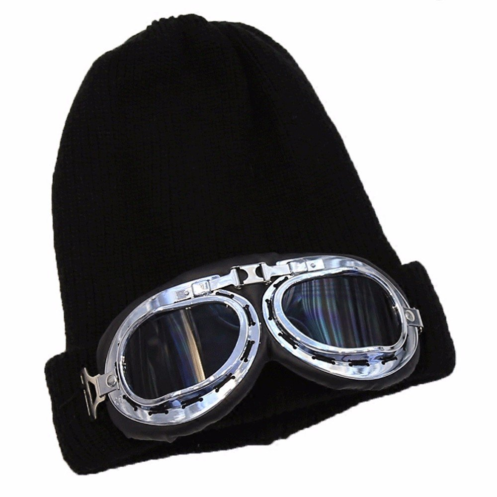 Unisex elegante arrastrero caliente en invierno esquí Beanies Skullies tejidas Hat,Negro,56-58cm.