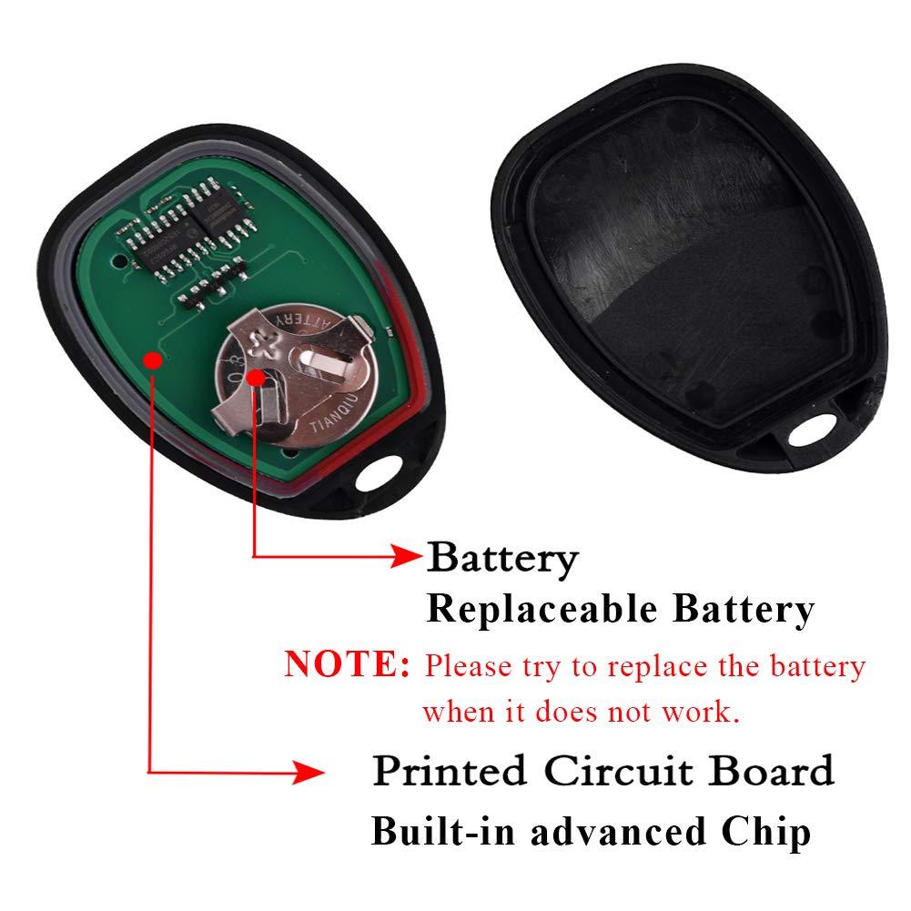 OUC60270, OUC60221 SaverRemotes 4 Button Key Fob Key Keyless Entry Remote with Ignition Key Compatible for Chevy Silverado Avalanche Traverse//GMC Sierra Acadia//Pontiac Torrent//Suzuki XL-7