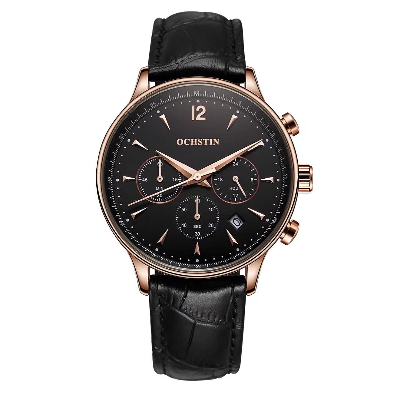 ochstinクォーツ24時間表示クロノグラフ日付ウィンドウアナログ表示ブラックダイヤルMale Watch B076FKRC2Q