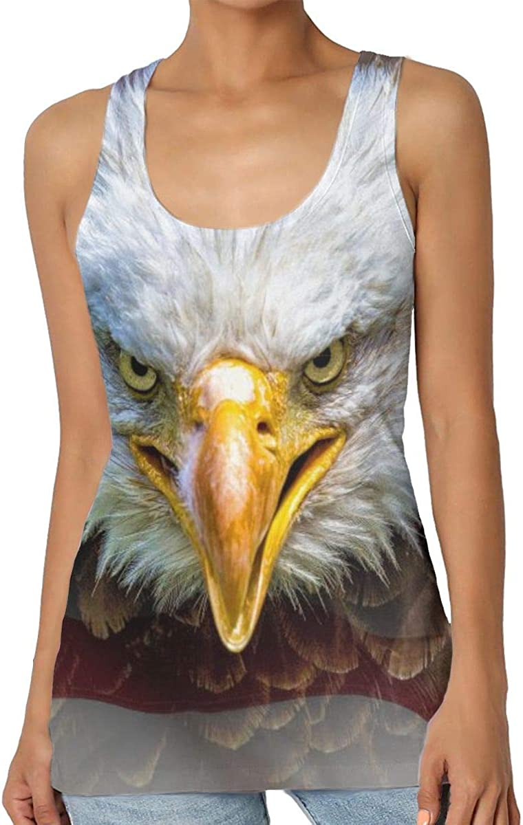Womens Casual Eagle On American Flag Graphic Tank Top Summer Excercise Vest Shirt Top