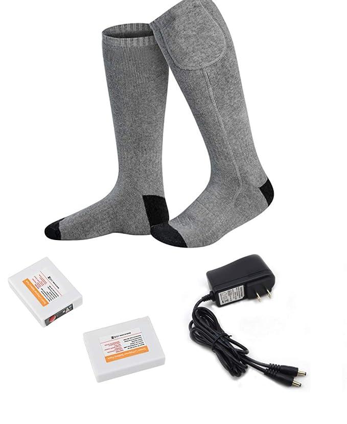 DZX Calcetines Térmicos Eléctricos/Calcetines Calientes para Pies, con Batería - para Deportes De Invierno, Trabajos De Acampada Y Esquí (Unisex): ...