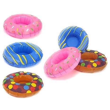 com-four® 6X Comedero Inflable Donut, Juguete de baño Divertido para inflar con