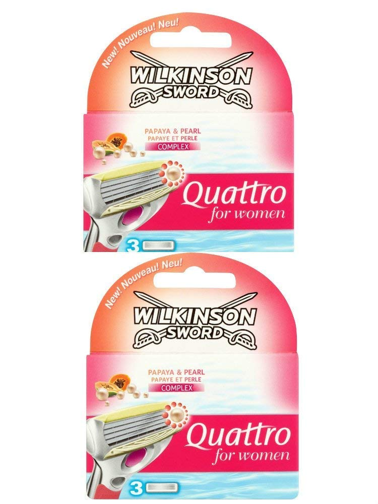2 x Wilkinson Sword Quattro for Women Razor Blades - 2 Packs of 3 Blades