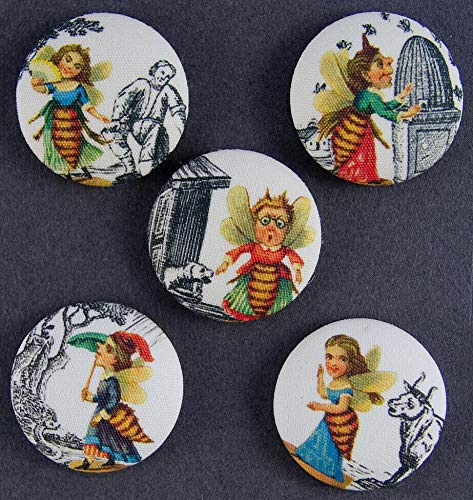 - Buttons for Craft Projects - Fabric Covered Picture Button -Set of 5 - Busy Bees - Ideal for Sewing and Quilting, Scrapbooking, Crafts
