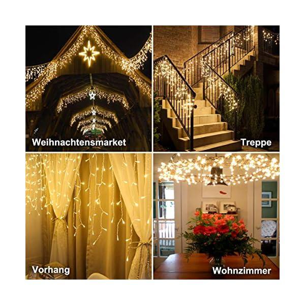 Cascata di Luci ECOWHO 440 LED Tenda Luminosa Bianco Caldo e Bianco Freddo,12x0,8m Luci di Natale 9 Modalità con telecomando, Catena Luminosa esterno per Natale patio Giardino Matrimonio 3 spesavip