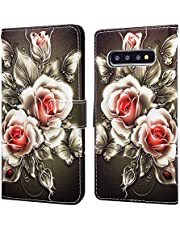 EnjoyCase Wallet Case for Galaxy S10e,Colorful Rose Flower Pattern Pu Leather Bookstyle Card Slots Magnetic Flip Cover With Hand Strap for Samsung Galaxy S10e