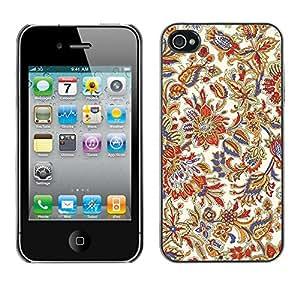 KOKO CASE / Apple Iphone 4 / 4S / floral vintage retro colorful wallpaper blossoms / Slim Black Plastic Case Cover Shell Armor