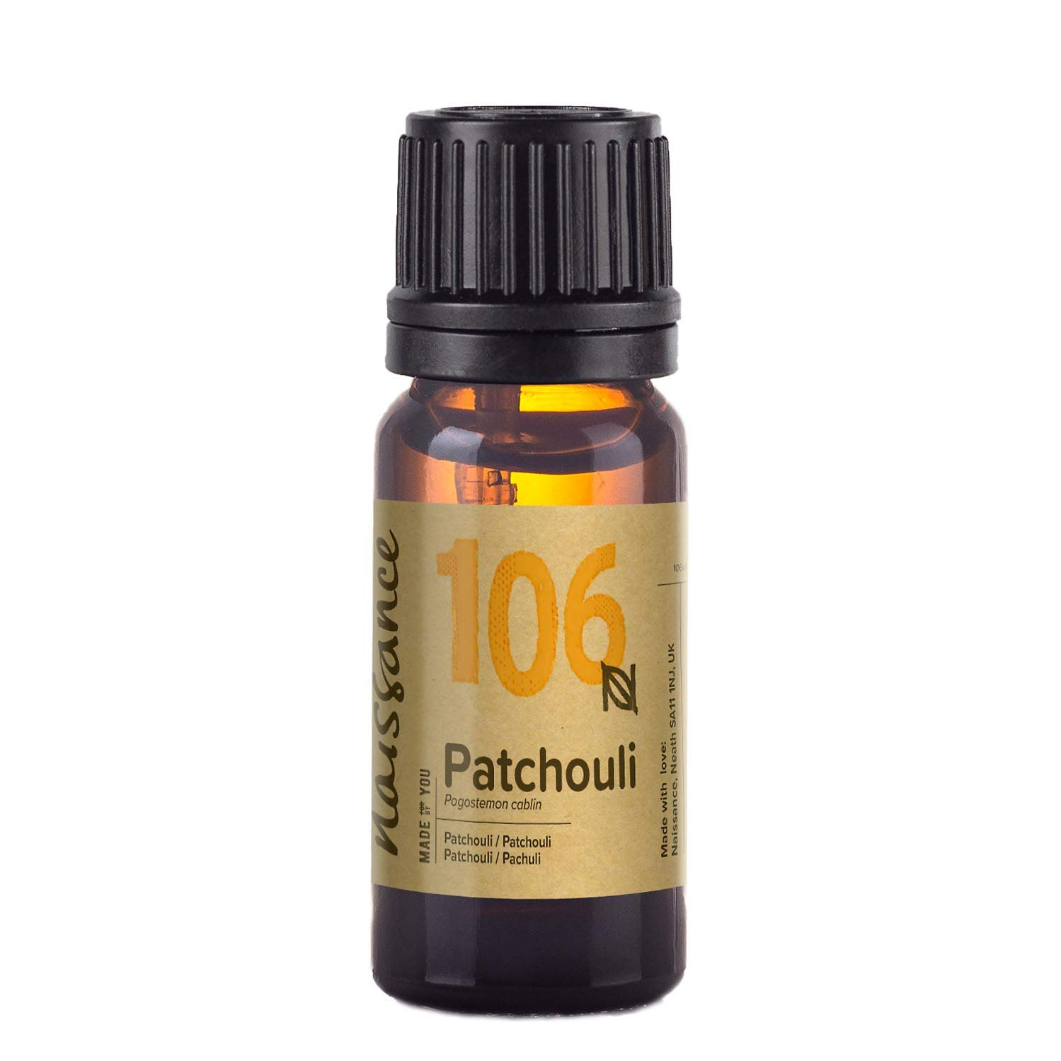 Naissance Patchouli Essential Oil (no. 106) 10ml - Pure, Natural, Cruelty Free, Vegan and Undiluted - To use in Aromatherapy & Diffusers