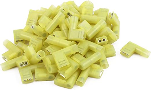 uxcell 50Pcs Flag Crimp Terminals Female Nylon Fully Insulated Wire Connectors Yellow a17050300ux0475