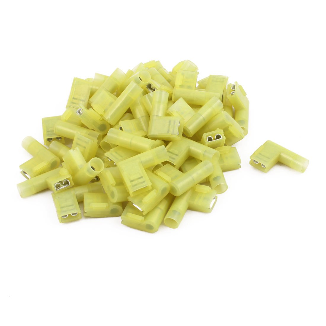 uxcell 50Pcs Flag Crimp Terminals Female Nylon Fully Insulated Wire Connectors Yellow