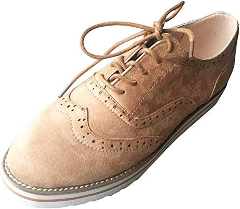 Zapatos Planos con Cordones Mujer Brogue Zapato Talón Plano Gamuza Colores Manera Tallas Grandes Botas Negro Rosa Gris Azul Marrón 35-43 EU