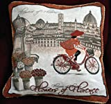 Tache 1 Piece 18'' By 18'' Square Vintage French Girl Day Out Cushion Throw Pillow Cover