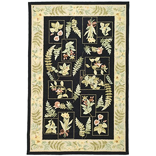 Safavieh Chelsea Collection HK07B Hand-Hooked Black Premium Wool Area Rug 5 3 x 8 3