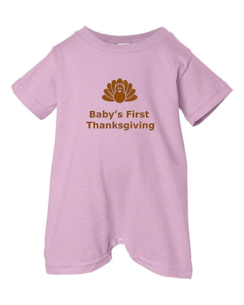 T-Shirt Romper Turkey Pink, 12 Months Festive Threads Unisex Baby Babys First Thanksgiving