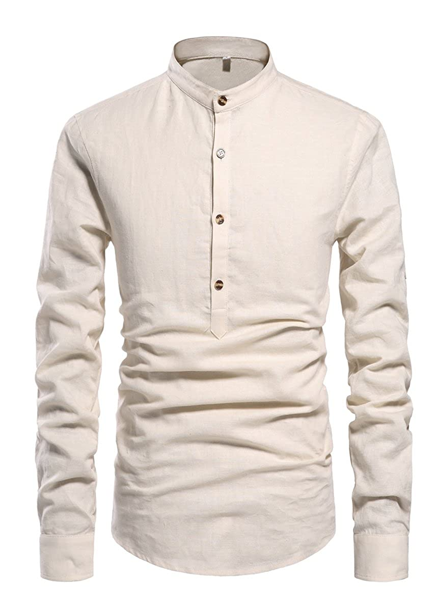 60s , 70s Hippie Clothes for Men NITAGUT Men Henley Neck Long Sleeve Daily Look Linen Shirts $25.99 AT vintagedancer.com