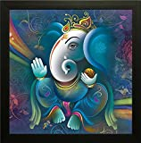 Paper Plane Design Exclusive Framed Wall Art Paintings Showing Ganesha in Blue Colour for Living room Bedroom and Decoration Purpose Frame size (12 inch x 12 inch, (Synthetic, 30 cm x 3 cm x 30 cm, Special Effect Textured)