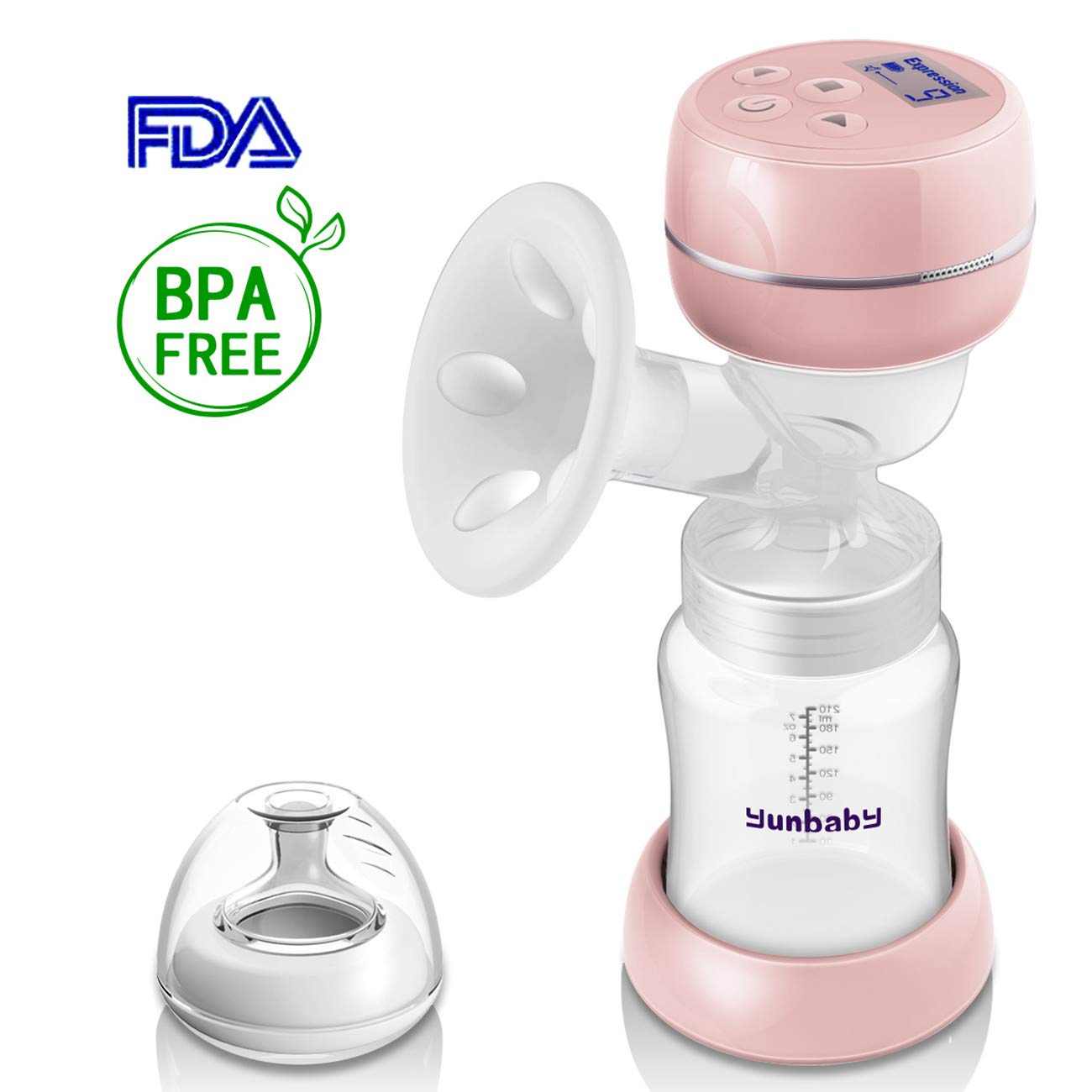 Electric Breast Pump Portable Single Small Milk Pump Best for Travel Office Breastfeeding, USB Rechargeable with Massage Adjustable Suction, BPA Free - Pink