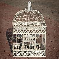 Colgante Decoración jaula Color Blanco Antiguo rectangular pájaro ...