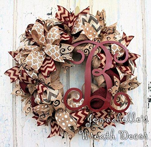 Amazon Com Fall Wreath Burlap Wreath Monogrammed Door Wreath