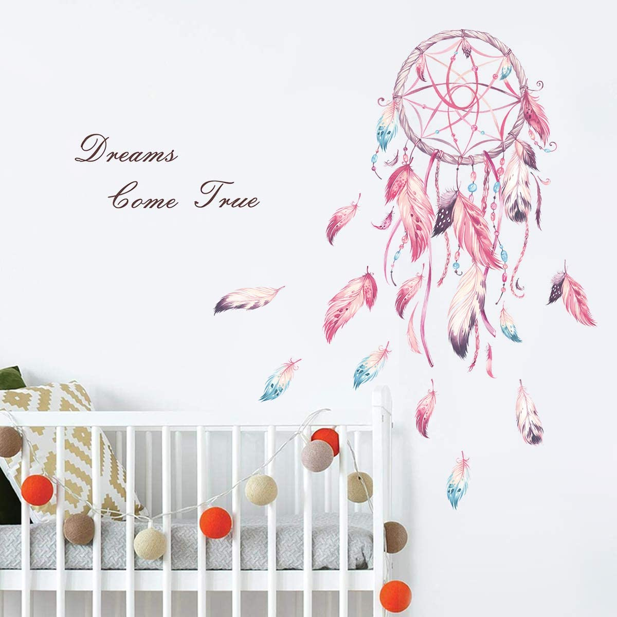 "decalmile Dream Catcher Feathers Wall Decals Quotes Dreams Come True Wall Stickers Girls Bedroom Living Room Wall Decor(Finished Size: 39"" W x 42"" H)"