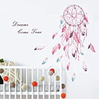 decalmile Dream Catcher Feathers Wall Decals Quotes Dreams Come True Wall Stickers Girls Bedroom Living Room Wall Decor