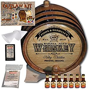 "Personalized Outlaw Kit (Canadian Rye Whiskey) ""MADE BY"" American Oak Barrel - Design 103: Barrel Aged Whiskey - 2018 Barrel Aged Series (5 Liter)"