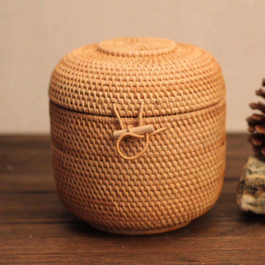 Flameer Rattan Weaving Chinese Handmade Tea Storage Box Basket Tea Cake Container by Flameer