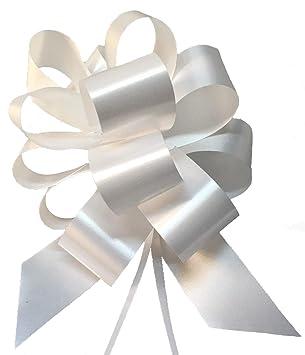 30 lazos blancos de 3,0 cm para coche de boda, casa, bautizo, graduación o comunión, diámetro de 10 cm, blanco, fáciles de desatar