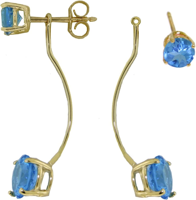 ALARRI 4.3 Carat 14K Solid Gold Stud Drops Earrings Natural Blue Topaz