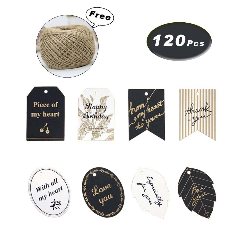 120 Pcs Black and White Bronzing Gift Tags with Free 328 Foot Natural Jute Twine for Thanksgiving Gift Tags and Christmas Gift Decoration Tags, Thank You/Love You/for You Gift Tags