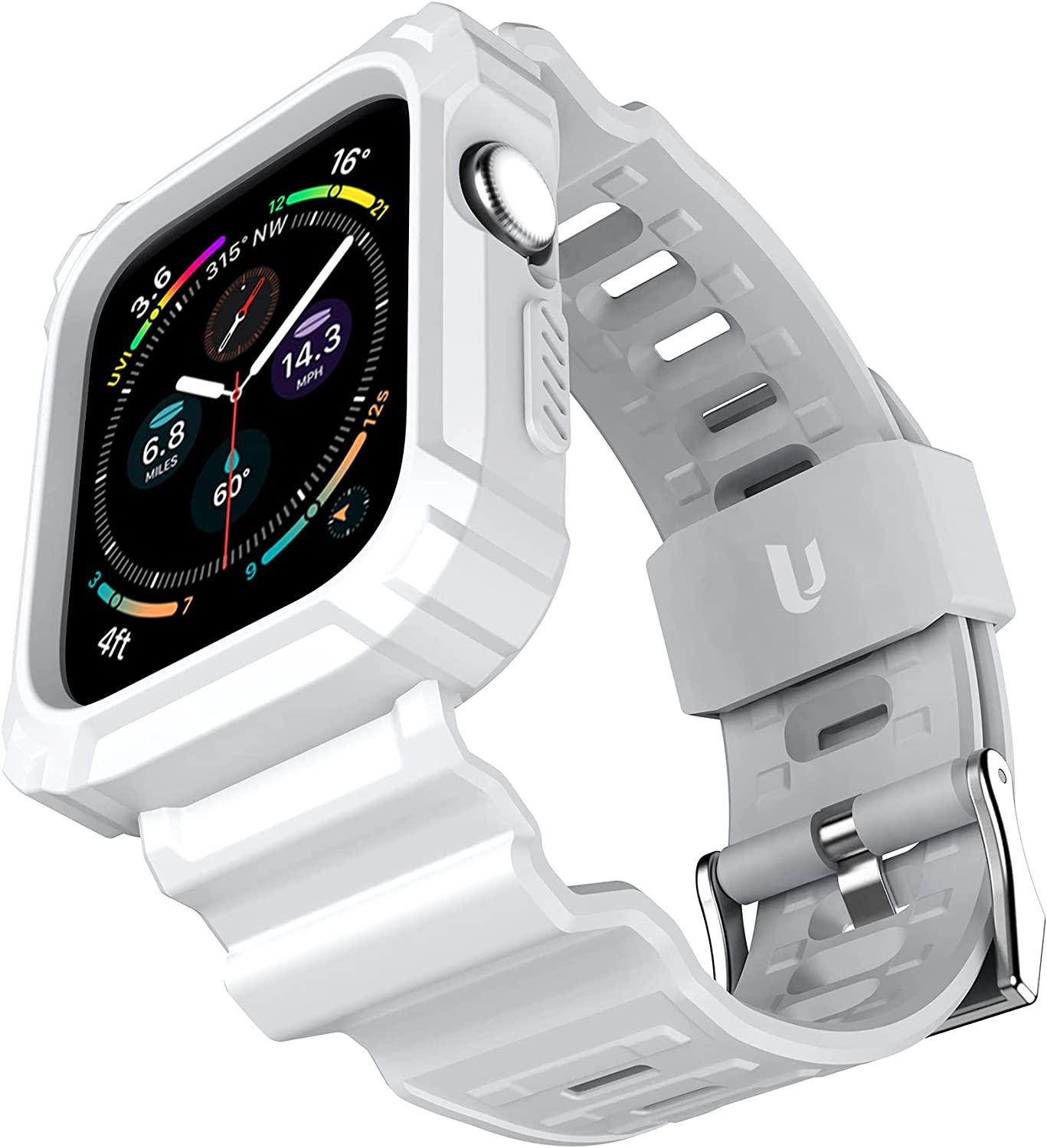 URBANITE for Apple Watch Band 40mm 38mm with Bumper Case, Rugged Protective Drop Shock Resistant Case with TPU Band Strap Fit for iWatch Series 3 4 5 6 SE Men Women Sport Military Style(White)