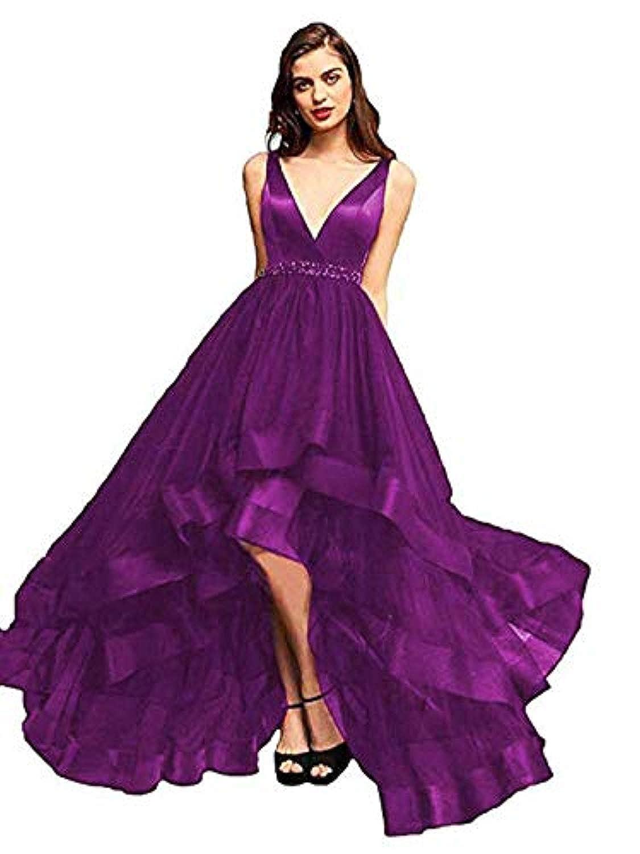 Grape Marirobe Women's High Low V Neck Evening Dress Sleeveless Prom Gown
