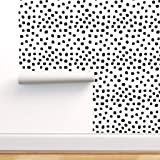 Spoonflower Peel and Stick Removable Wallpaper, Dots Black White Polka Dot Mod Print, Self-Adhesive Wallpaper 24in x 36in Rol