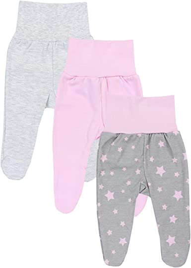 Pink Baby Girls Trousers with Feet 56 cm// Newborn 100/% Cotton.