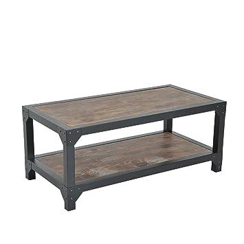 HomCom Rustic Wood Industrial Style Metal Frame Coffee Table