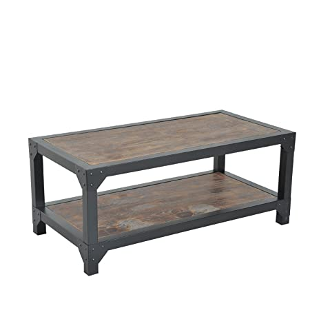 Amazon.com: HomCom Rustic Wood Industrial Style Metal Frame Coffee ...