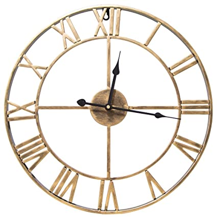 (Gold) - SEJU Large Metal Roman Numeral Wall Clock - Silent Non-ticking Decorative Wall Clock for Cafe Loft Hotel Bar Office Living Room Bedroom Kitchen ...