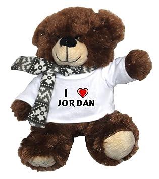 Oso marrón de peluche con Amo Jordan en la camiseta