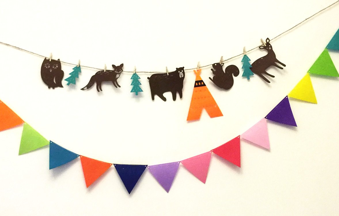 ELLAMAMA Woodland Camping Colorful Pennant Garland Banner For Baby Shower Kindergarten Holiday Kids Room Teepee Camping Decorations