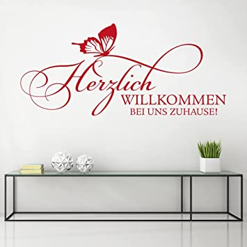 KLEBEHELD® Wandtattoo Herzlich Willkommen Bei Uns Zuhause | Spruch Mit  Schmetterling U0026hellip; Größe 80x36cm