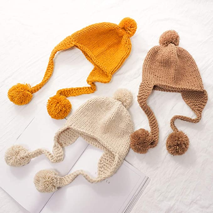 JFan Baby Winterm/ütze Ohrenklappen Pompon Strickm/ützen Jungen M/ädchen Fleecem/ütze Baumwolle Warm Beanie Cute Hut