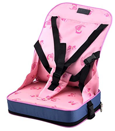 Foldable Baby Booster Seat Travel High Chair Portable Car Table Toddlers Child Pink