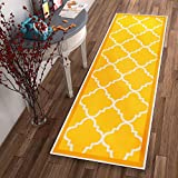 Kitchen Rugs Gold Non-Skid Slip Rubber Back Antibacterial 2x7 ( 2' x 7' Runner ) Rug Dallas Moroccan Trellis Yellow Modern Geometric Lattice Thin Low Pile Machine Washable Indoor Outdoor Kitchen Entry
