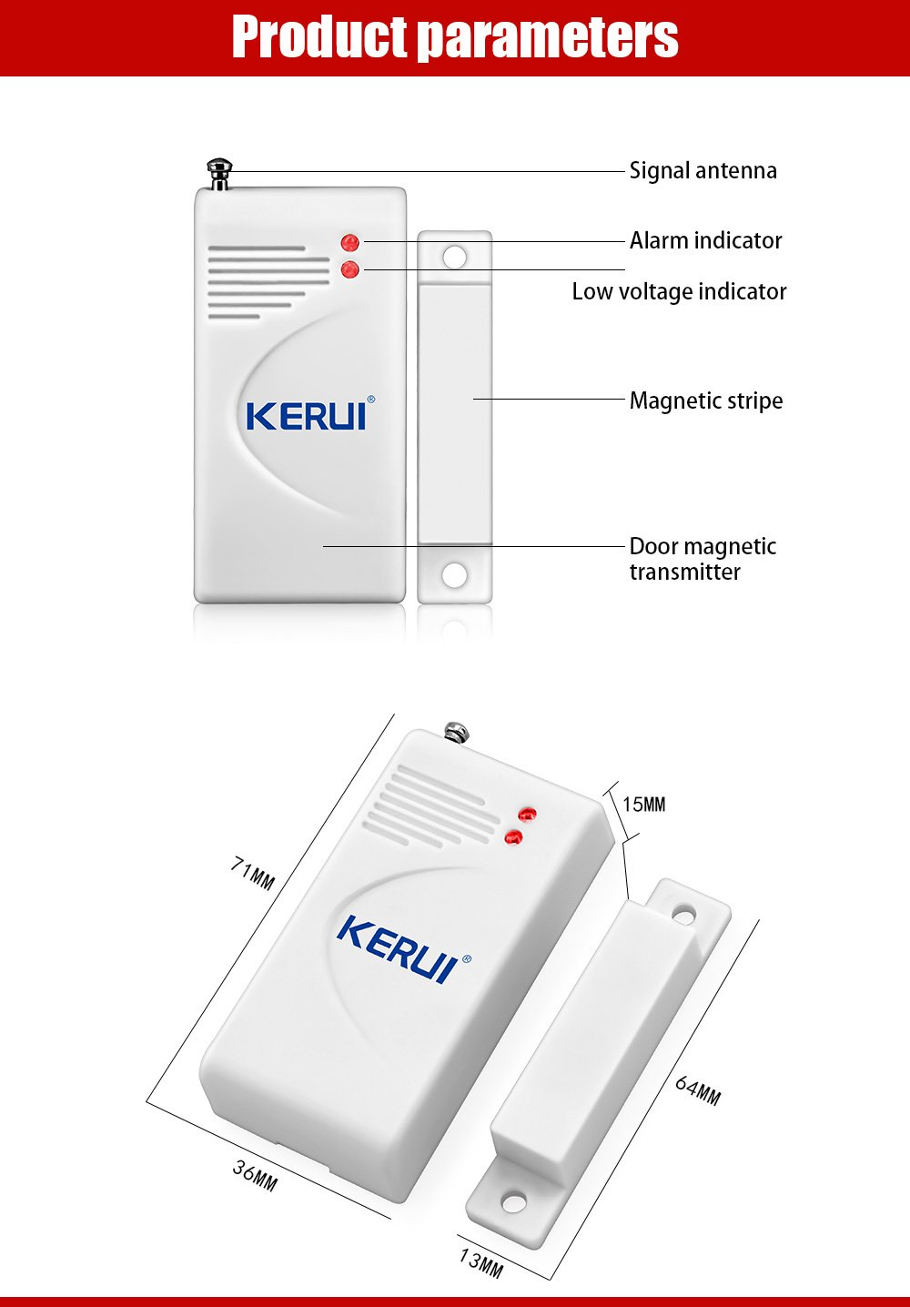 433mhz Wireless Door Window Magnetic Sensor For Gsm Home Alarms Entry Alarm Circuit Security Systems Improvement