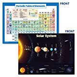 LAMINATED Solar System Poster & Periodic Table of Elements Chart for Kids (2018) - 2 Poster Set (18 x 24)
