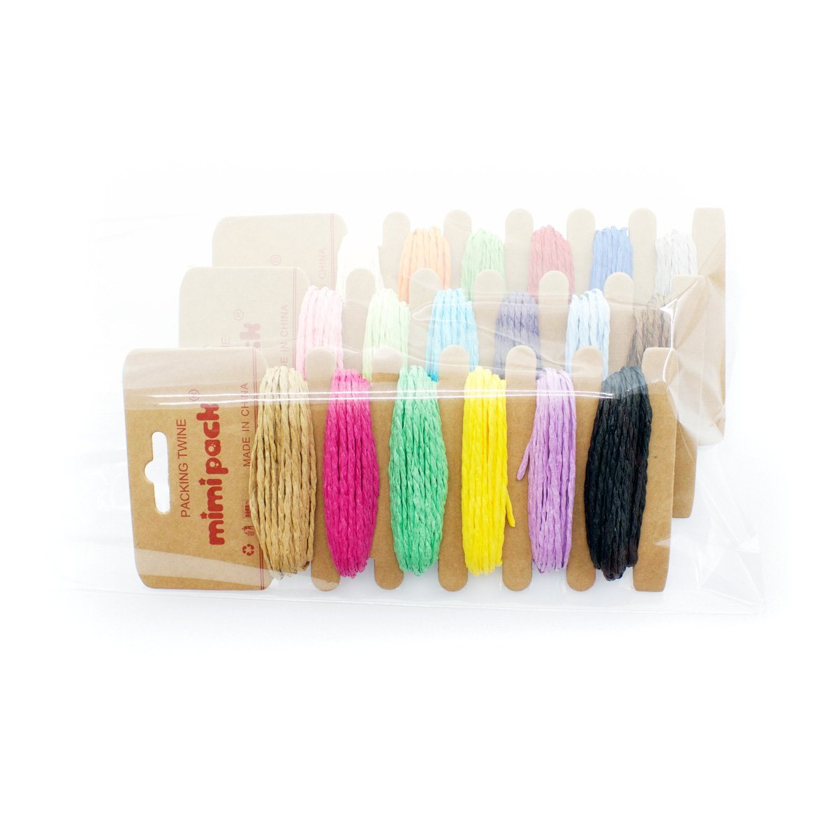 Mimi Pack Bright Paper Raffia Ribbon Twine Strong Solid Assorted Colors for DIY Crafts, Gift Wrapping, Gardening, Scrapbooking, and Decoration (Multicolor 3 Pack) by Mimi Pack (Image #2)